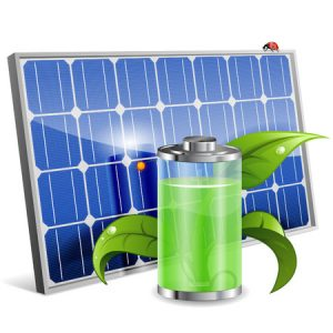 Green energy concept with solar panel and battery