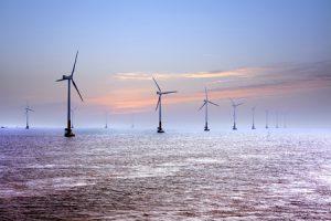 offshore windmills in the ocean